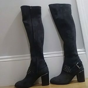 Gray/silver Michael Kors over the knee boots. 8